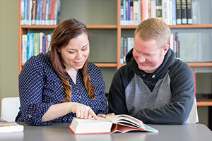 Will & Katie Schultz, Quincy College Aquaculture Students in the Krovitz Library