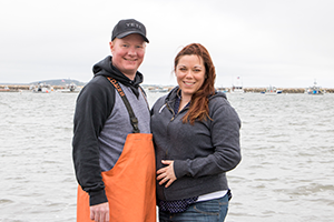 Will & Katie Schultz, Quincy College Aquaculture Students at the Plymouth Waterfront