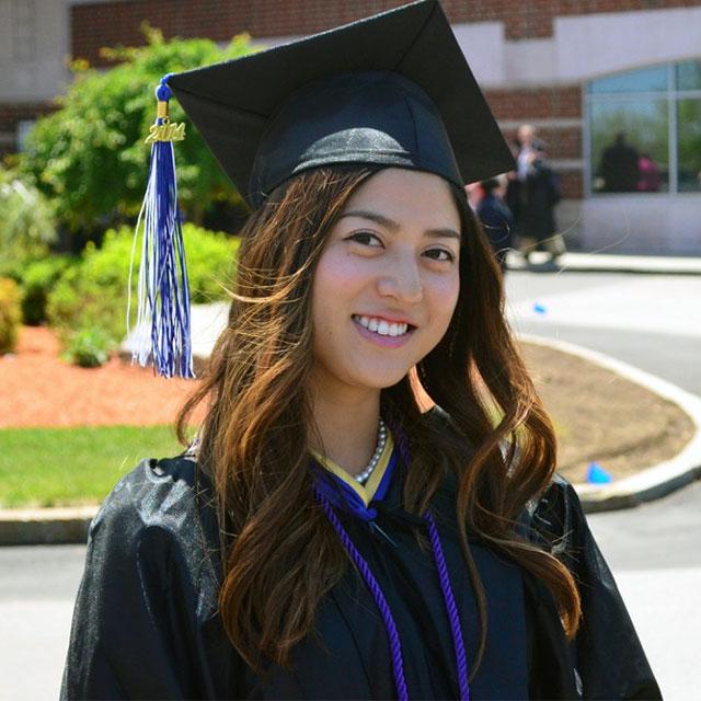 Sakie, Quincy College Graduate
