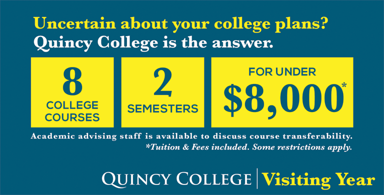 graphic for visiting year at Quincy College.